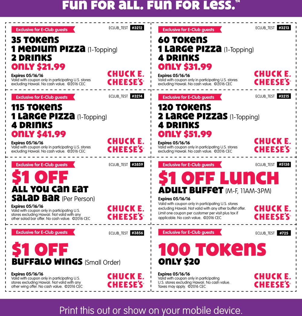 Chuck E. Cheese Coupon April 2017 100 tokens for $20 & more at Chuck E. Cheese pizza