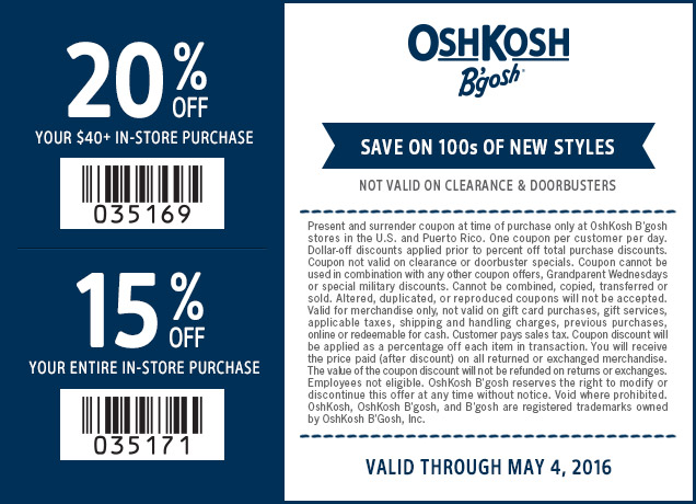 OshKosh Bgosh Coupon February 2018 15-20% off at OshKosh Bgosh