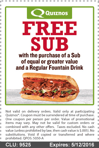 Quiznos Coupon March 2018 Second sub free at Quiznos