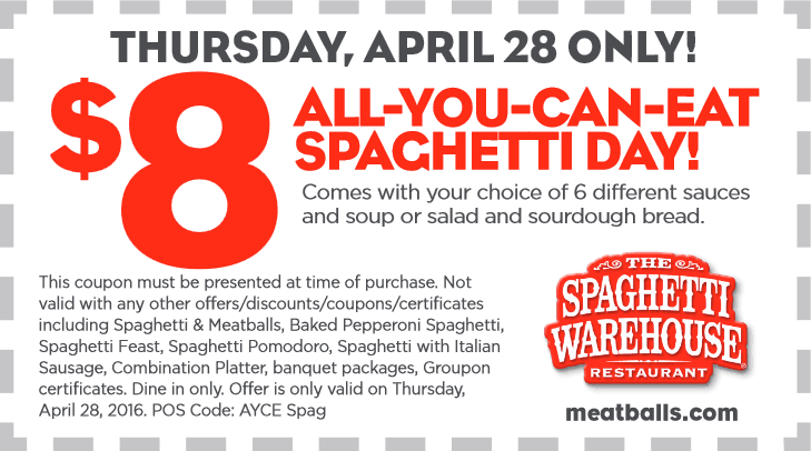 Spaghetti Warehouse Coupon January 2018 Bottomless spaghetti + soup or salad + bread = $8 today at Spaghetti Warehouse restaurants
