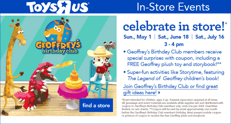 Toys R Us Coupon April 2017 Free stuffed Geoffrey giraffe & storybook for free members Sunday at Toys R Us
