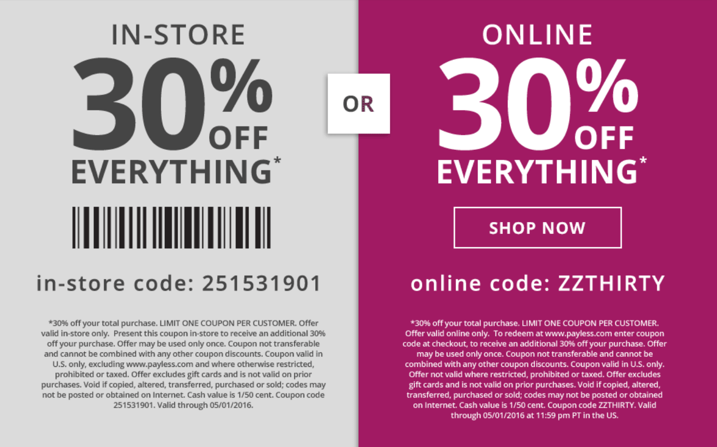 Payless Shoesource Coupon January 2017 30% off at Payless Shoesource, or online via promo code ZZTHIRTY