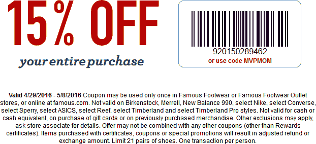 Famous Footwear Coupon June 2019 15% off at Famous Footwear, or online via promo code MVPMOM