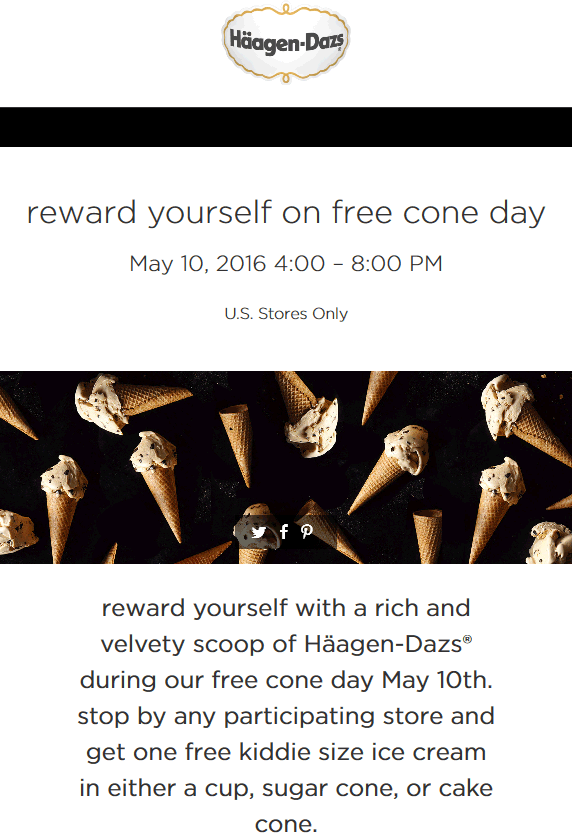 Haagen-Dazs.com Promo Coupon Free ice cream cone the 10th at Haagen-Dazs