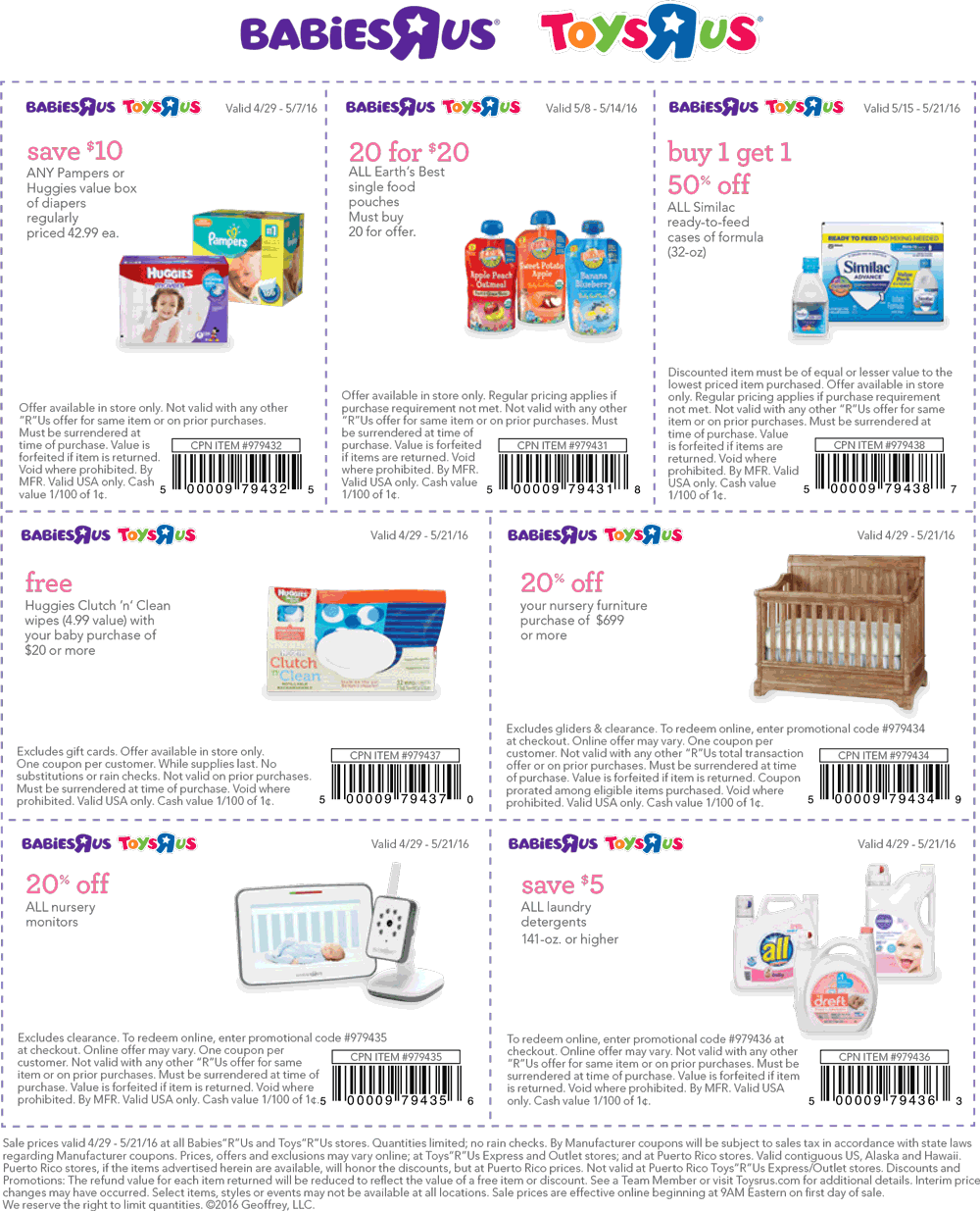 Babies R Us Coupon January 2018 $10 off big box of diapers & more at Toys R Us & Babies R Us