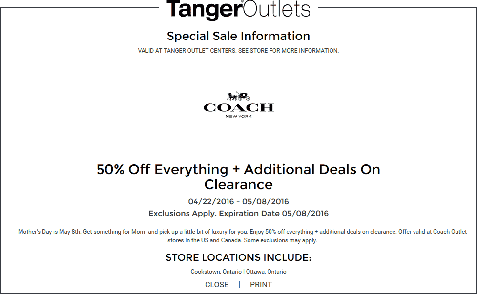 Coach Outlet Coupon July 2018 50% off everything at Coach Outlet