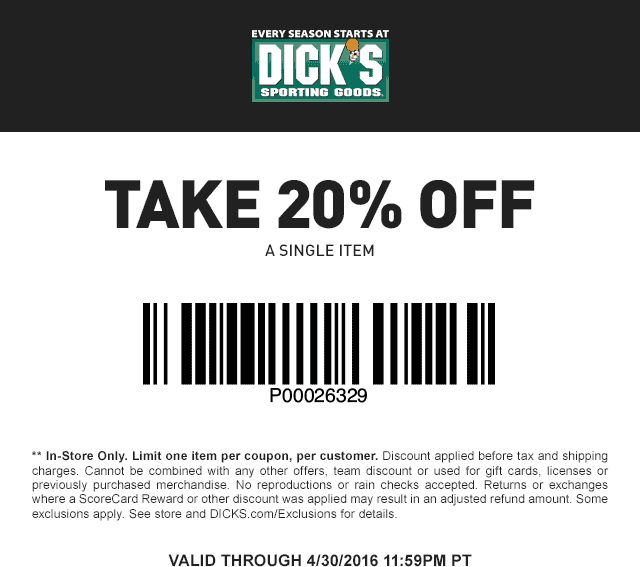 Dicks Coupon March 2017 20% off a single item today at Dicks sporting goods