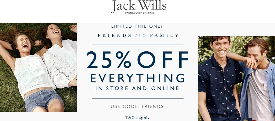 Jack Wills Coupon November 2018 25% off everything at Jack Wills, or online via promo code FRIENDS