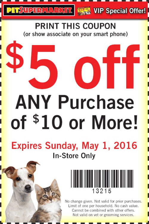 Pet Supermarket Coupon February 2017 $5 off $10 at Pet Supermarket