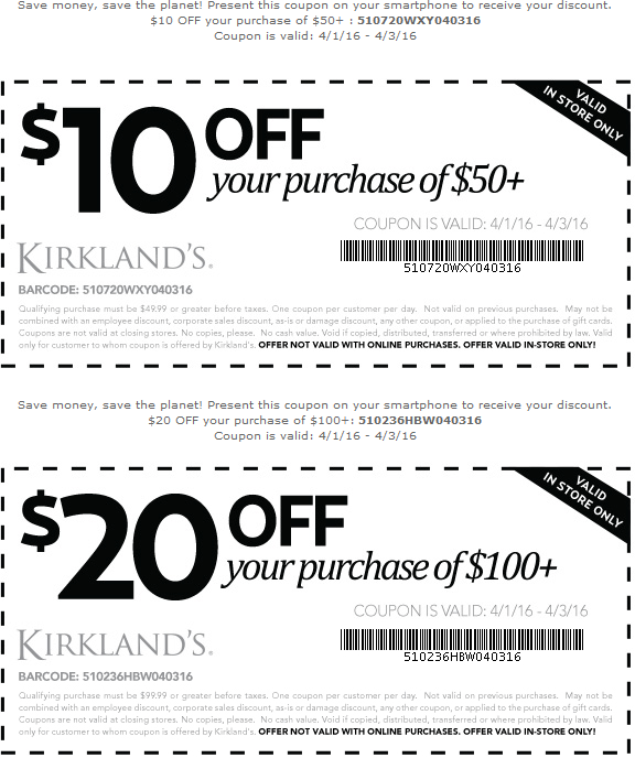 Kirklands Coupon April 2017 $10 off $50 & more at Kirklands