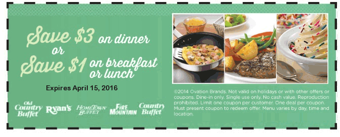 Old Country Buffet Coupon June 2017 $3 off dinner at Ryans, Fire Mountain, Hometown Buffet & Old Country Buffet