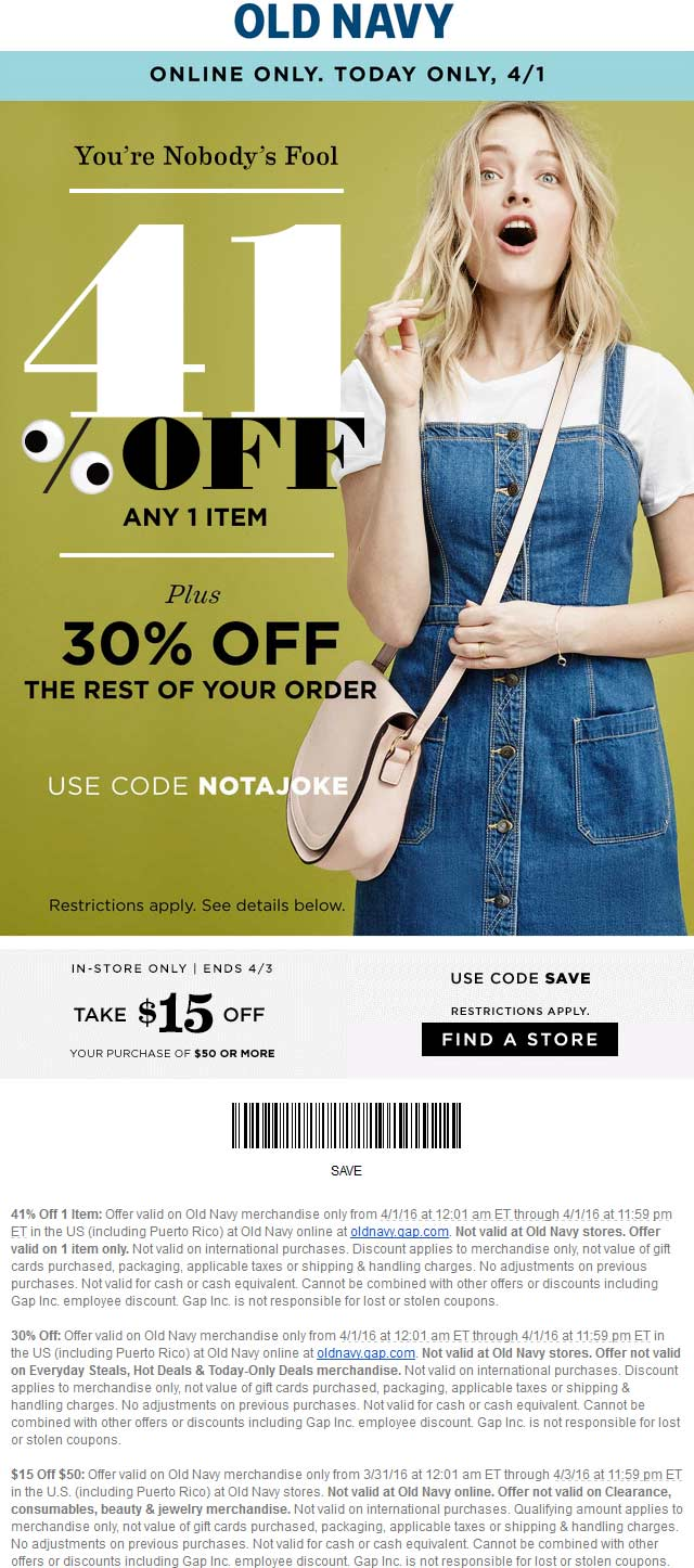 Old Navy Coupon April 2018 $15 off $50 & more at Old Navy