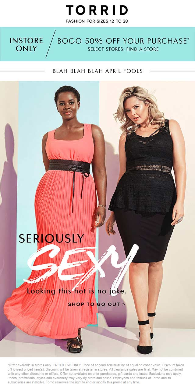 Torrid Coupon December 2017 Second item 50% off at Torrid