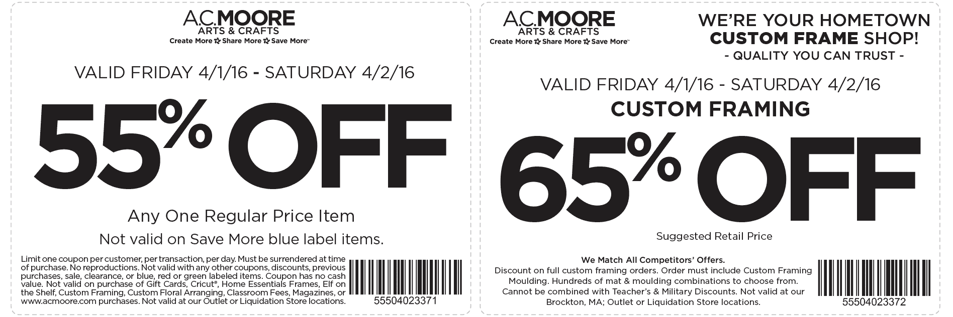 A.C. Moore Coupon August 2018 55% off a single item today at A.C. Moore