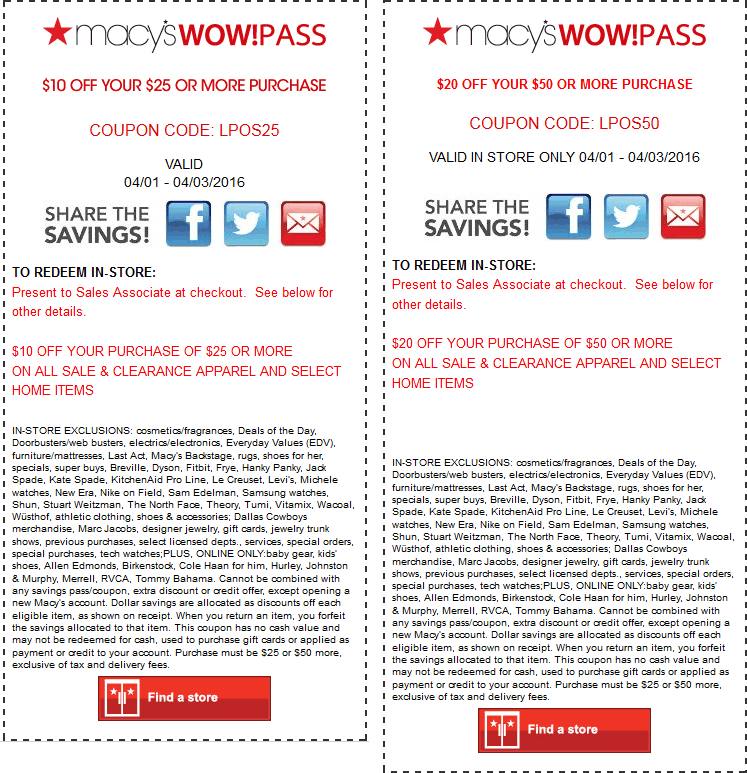 Macys Coupon May 2019 $10 off $25 & $25 off $50 at Macys