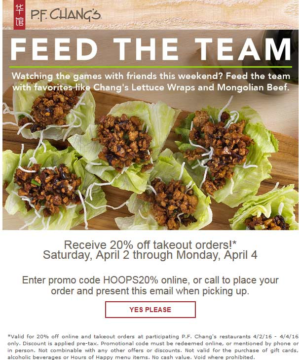 P.F. Changs Coupon December 2016 20% off takeout at P.F. Changs restaurants