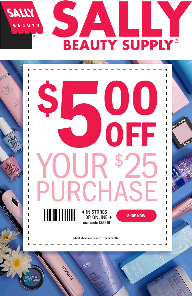Sally Beauty Coupon May 2018 $5 off $25 at Sally Beauty, or onine via promo code 888319