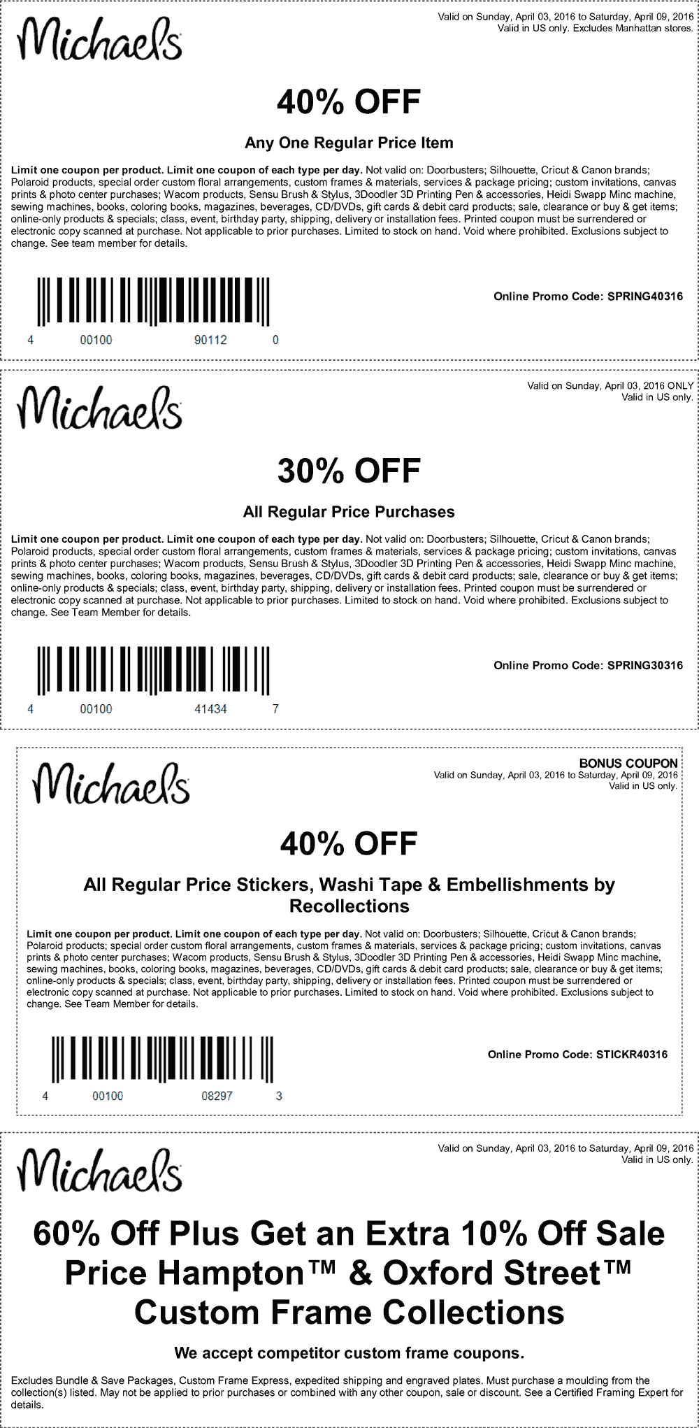 Michaels Coupon July 2018 40% off a single item & more at Michaels, or online via promo code SPRING40316