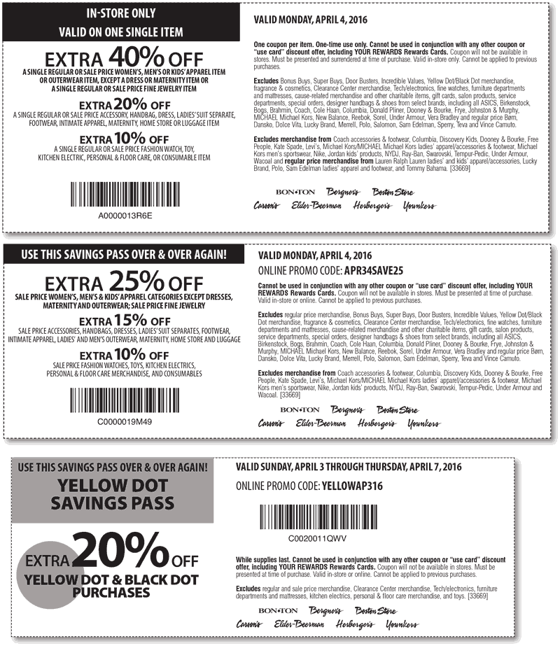 Carsons Coupon June 2018 40% off a single item today at Carsons, Bon Ton & sister stores, or 25% online via promo code APR34SAVE25