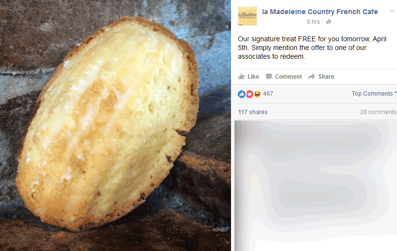 La Madeleine Coupon January 2017 Signature treat free Tuesday at la Madeleine Country French Cafe