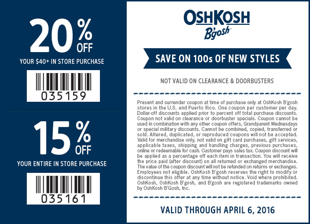 OshKosh Bgosh Coupon May 2017 15-20% off at OshKosh Bgosh, or online via promo code OKBGAPR