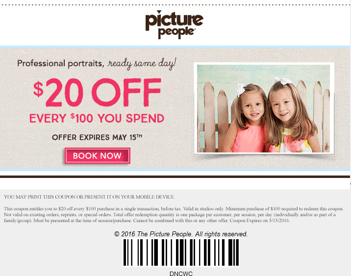 Picture People Coupon March 2018 $20 off every $100 at Picture People studios