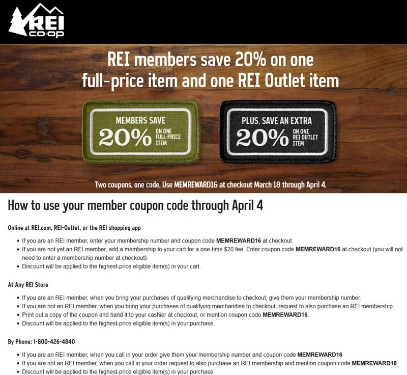 REI.com Promo Coupon 20% off a single item today for REI members, or online via promo code MEMREWARD16