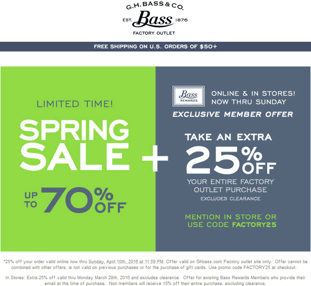 G.H. Bass Factory Outlet Coupon November 2018 25% off at G.H. Bass Outlet locations, or online via promo code FACTORY25