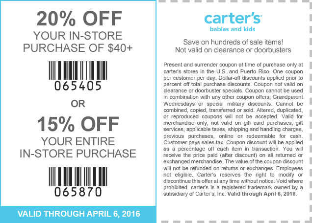 Carters Coupon May 2017 15-20% off at Carters, or online via promo code CARTAPR