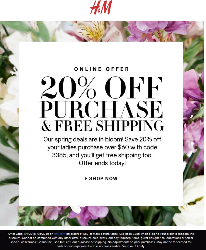 H&M Coupon July 2018 20% off $60 online today at H&M via promo code 3385