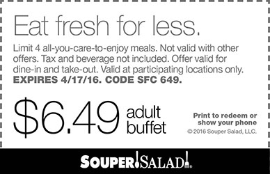 Souper Salad Coupon March 2018 Bottomless buffet for $6.49 at Souper Salad