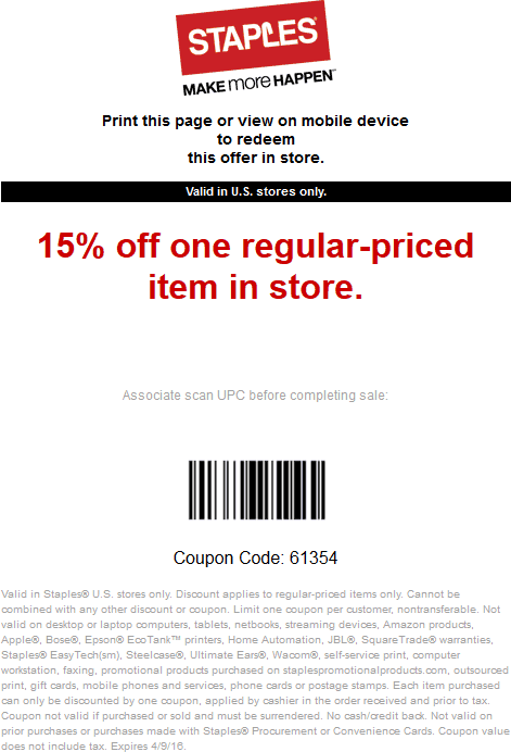 Staples Coupon September 2017 15% off a single item at Staples