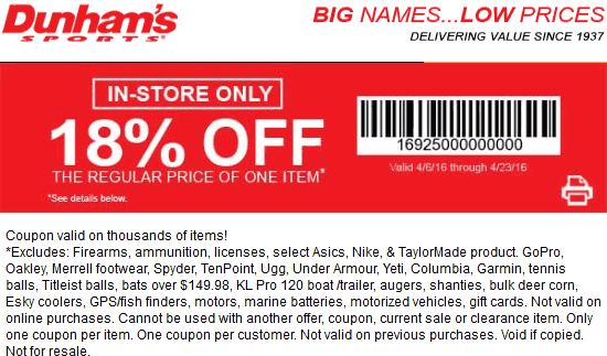 Dunhams Sports Coupon December 2016 18% off a single item at Dunhams Sports