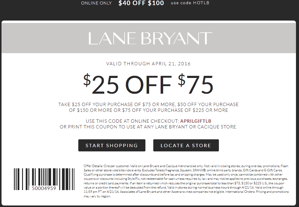 Lane Bryant Coupon September 2018 $25 off $75 & more at Lane Bryant, or online via promo code APRILGIFTLB