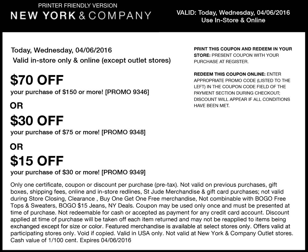 New York & Company Coupon January 2017 $15 off $30 & more today at New York & Company, or online via promo code 9349