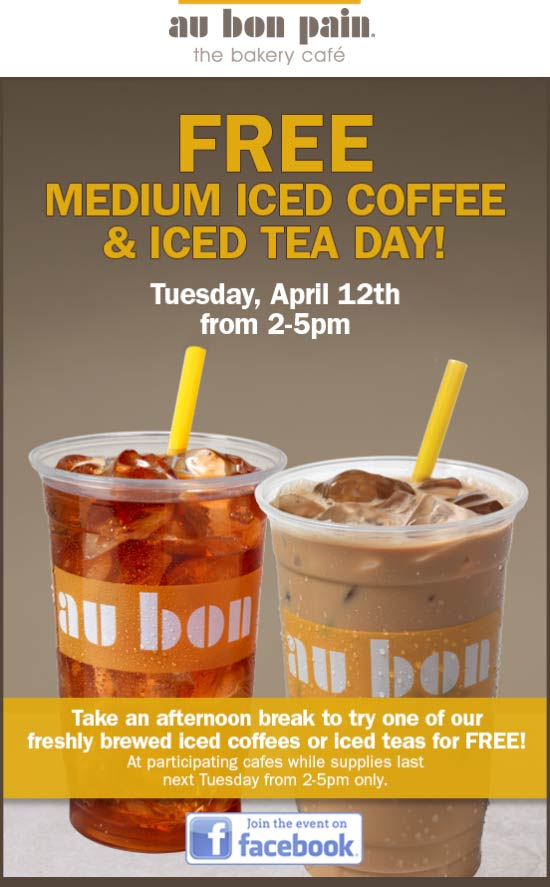 Au Bon Pain Coupon December 2016 Free medium coffee or tea Tuesday at Au Bon Pain bakery cafe