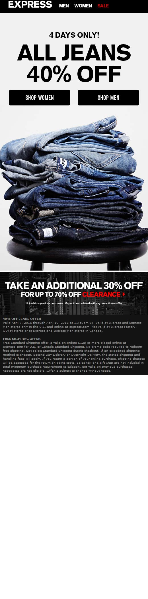 Express Coupon July 2017 40% off jeans + extra 30% off clearance at Express, ditto online