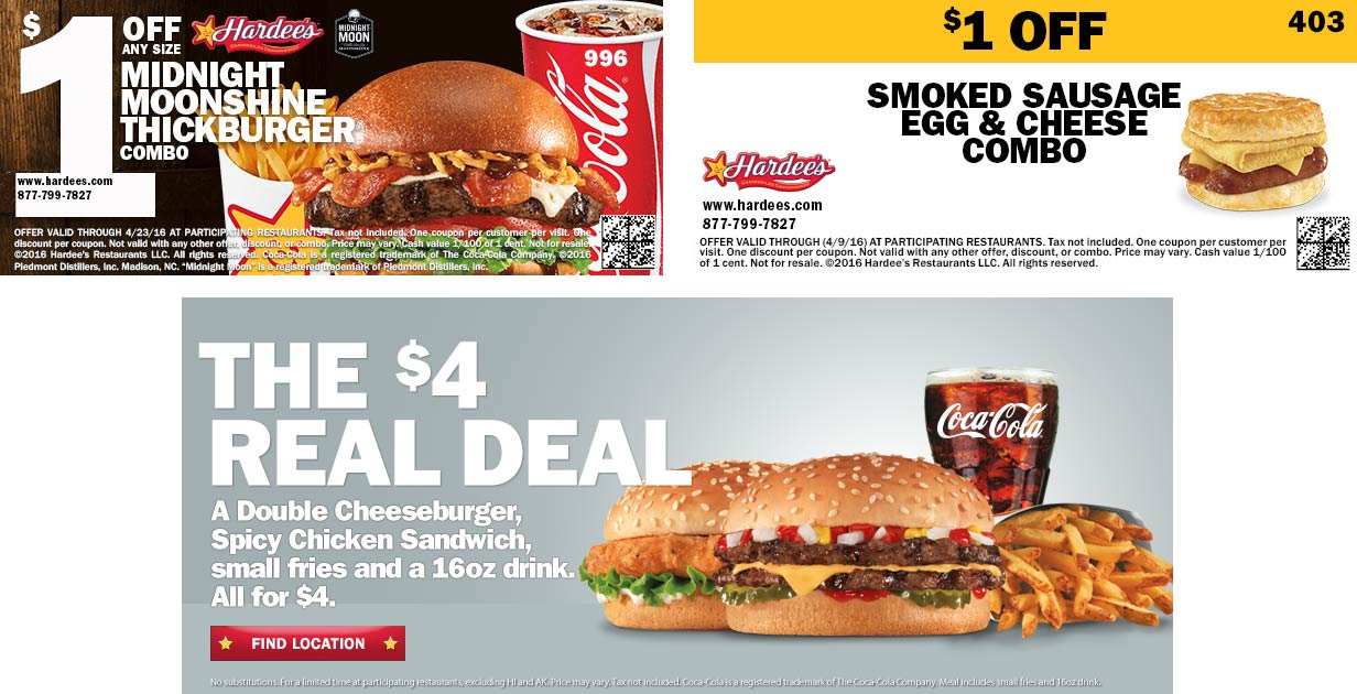Hardees Coupon December 2018 Double cheeseburger + chicken sandwich + fries + drink = $4 & more at Hardees