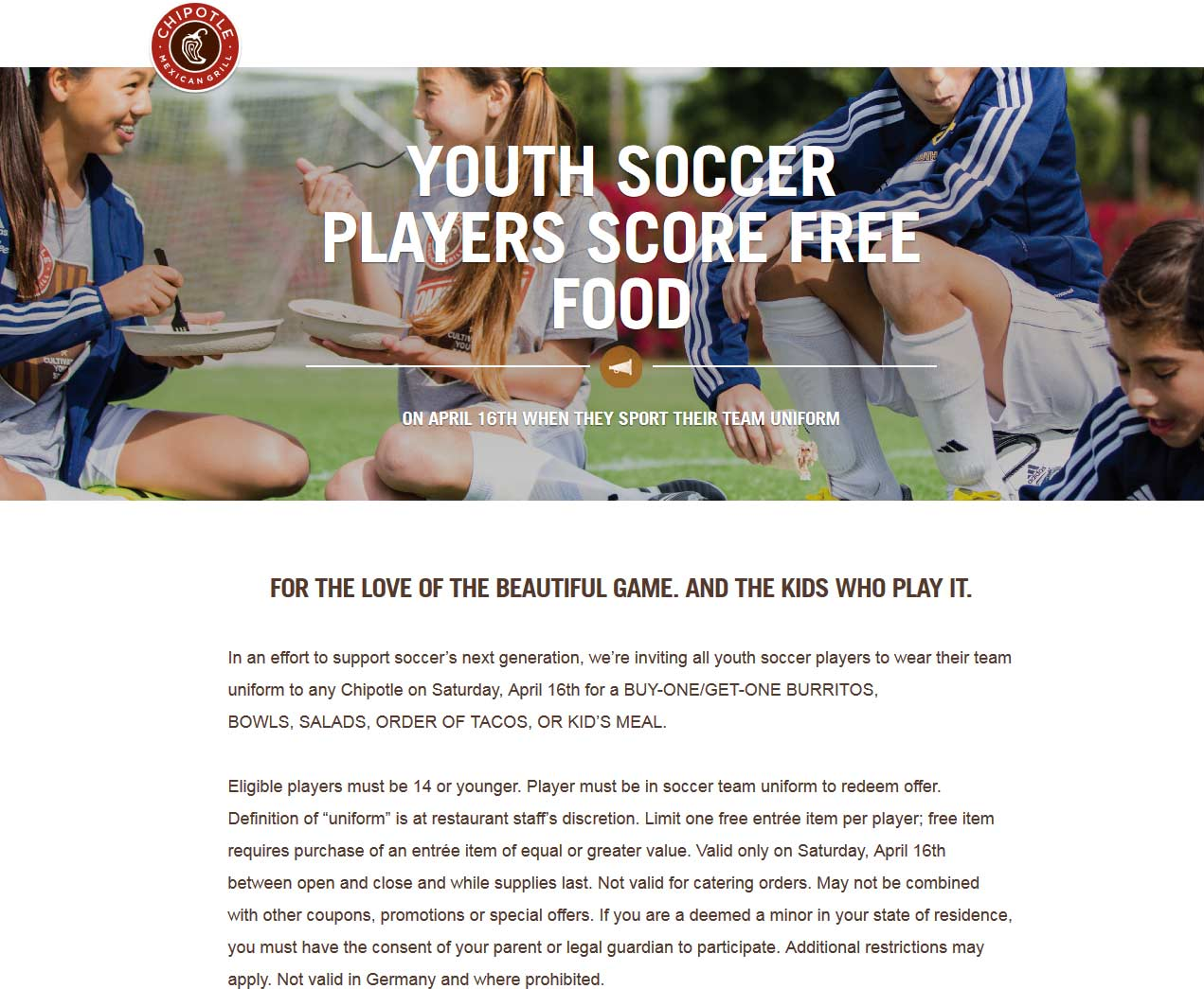 Chipotle Coupon February 2017 Youth soccer players in uniform get a second meal free the 16th at Chipotle