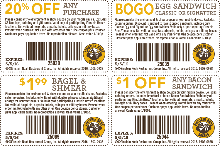 Einstein Bros Bagels Coupon May 2019 Second sandwich free, 20% off & more at Einstein Bros Bagels