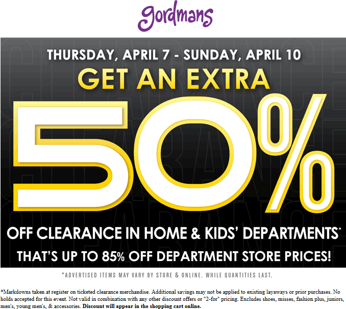 Gordmans Coupon January 2018 Extra 50% off clearance at Gordmans, ditto online