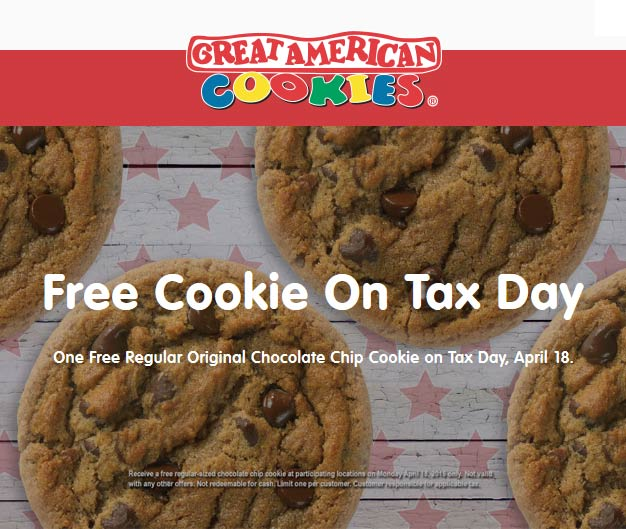 Great American Cookies Coupon January 2017 Free cookie the 18th at Great American Cookies