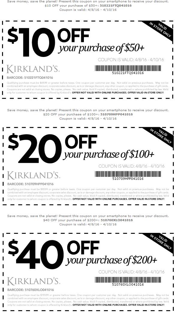 Kirklands Coupon January 2018 $10 off $50 & more at Kirklands