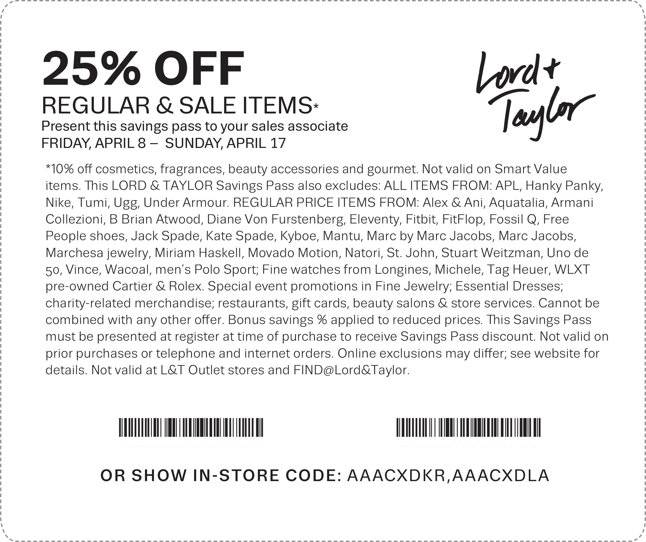Lord & Taylor Coupon April 2018 25% off at Lord & Taylor, or online via promo code FRIENDS