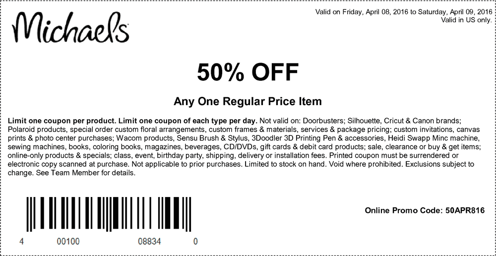 Michaels Coupon February 2017 50% off a single item at Michaels, or online via promo code 50APR816