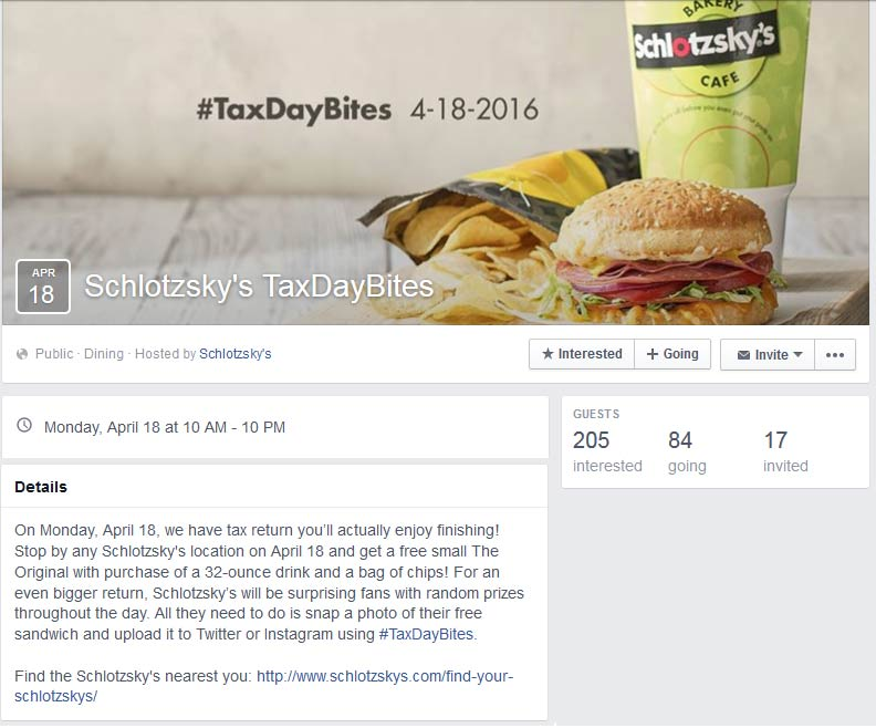 Schlotzskys Coupon February 2017 Free sandwich with your chips & drink the 18th at Schlotzskys