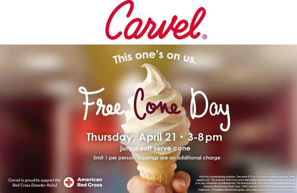 Carvel Coupon December 2016 Free ice cream cone the 21st at Carvel