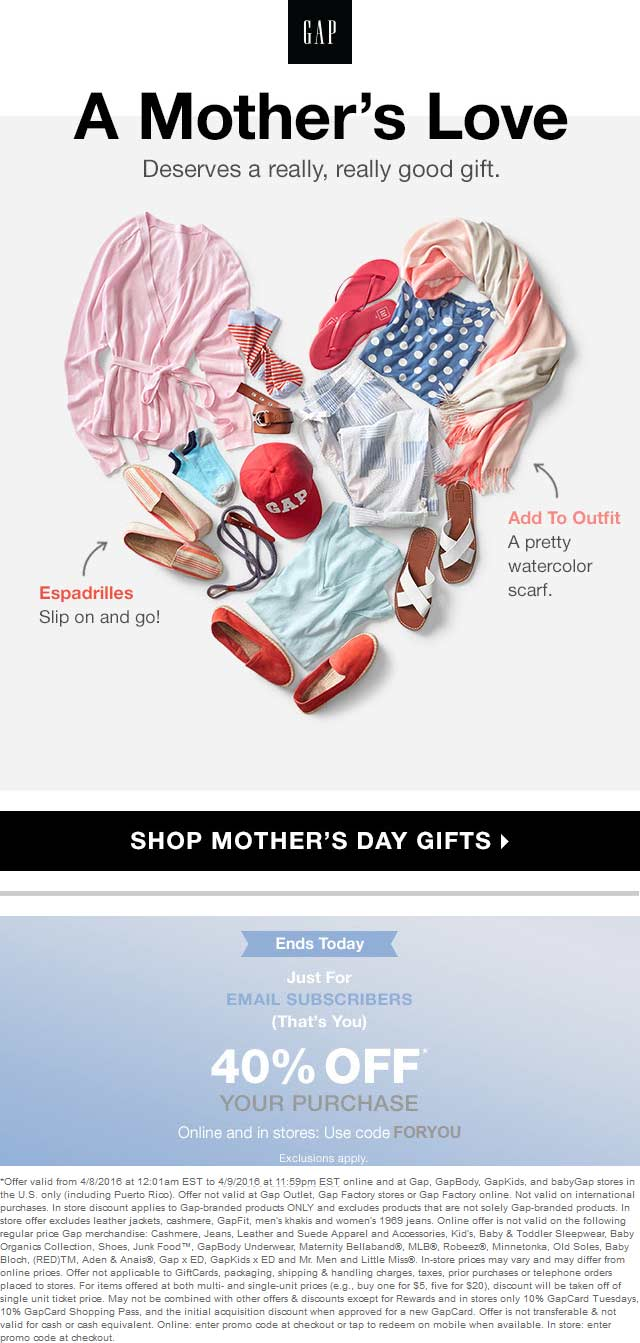Gap Coupon May 2017 40% off today at Gap, or online via promo code FORYOU