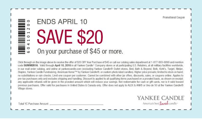 Yankee Candle Coupon October 2016 $20 off $45 at Yankee Candle, or online via promo code SUMMER16