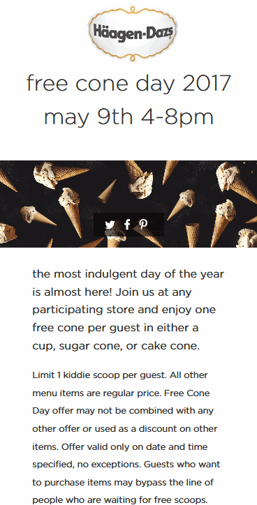 Haagen Daz Coupon May 2019 Free ice cream cone the 9th at Haagen Dazs